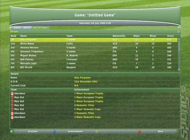 Football Manager 2007 - Xbox 360 Screen